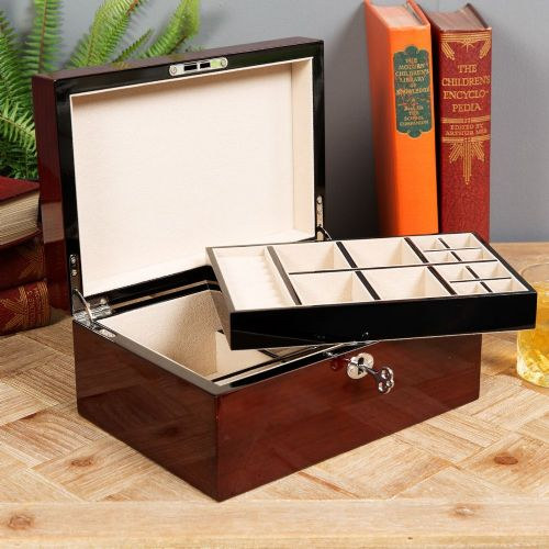 Large Gloss Finish Wooden Jewellery Box With Lock & Key By Stratton Of Mayfair